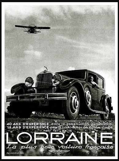 lorraine la plus belle voiture 40 ans experience publicite automobile de 1932 patrimoine. Black Bedroom Furniture Sets. Home Design Ideas
